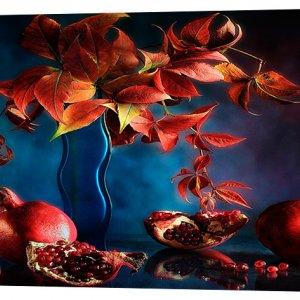 Картина на холсте Декор Карпаты Гранаты и цветы 50х100 см (c711)