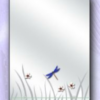 "Дзеркало ""Трава, метелики, ромашки"" з полицею"