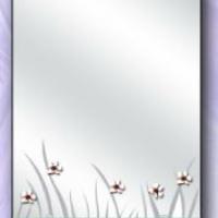 "Зеркало ""Трава, ромашки"" с полкой"