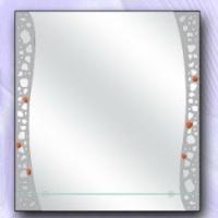Зеркало с рисунком и полкой, сатин