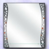 Зеркало с рисунком и полкой, графит
