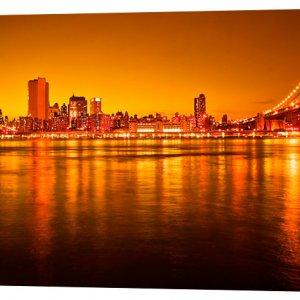 Картина на холсте Декор Карпаты Ночной город 50х100 см (g156)