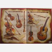 Декупажная карта Музыкальные инструменты