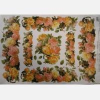 Декупажная карта Розы разноцветные