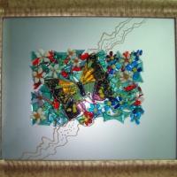 Картина из стекла «Цветы и бабочка»