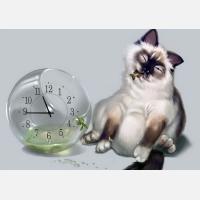 """Часы с картиной """"Кот на рыбалке"""""""