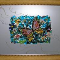 Картина из стекла «Бабочка на бирюзовом поле»