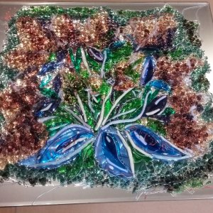 Картина из стекла «Цветущий куст»