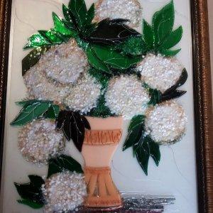Картина из стекла «Гортензия белая»