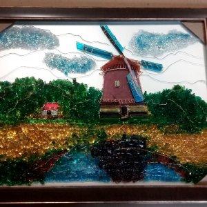 Картина из стекла «Мельница»