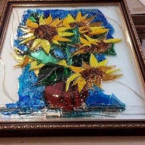 Картина из стекла «Букет подсолнухов»
