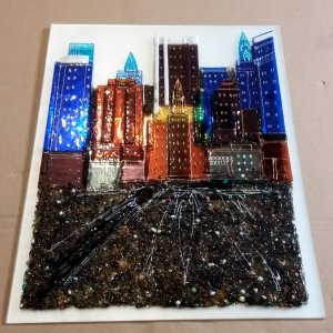 Картина из стекла «Город»