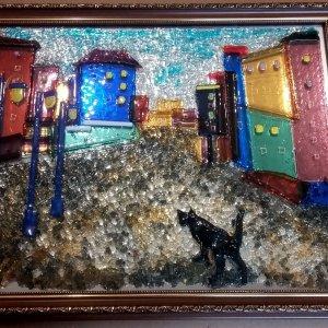 Картина из стекла «Кот»