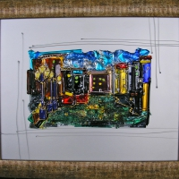Картина из стекла «Ночной город»