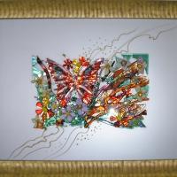 Картина из стекла «Красная бабочка»