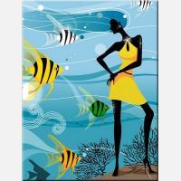 """Картина на холсте """"Девушка с рыбками"""""""