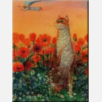 """Картина на холсте """"Кот в маковом поле"""""""