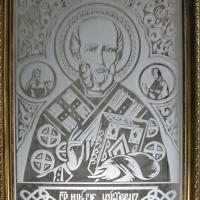 """Икона пескоструй на зеркале """"Николай Чудотворец"""""""