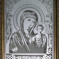 """Икона пескоструй на зеркале """"Богородица"""""""
