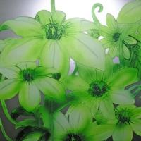 """Пескоструй цветной """"Зеленые цветы"""""""